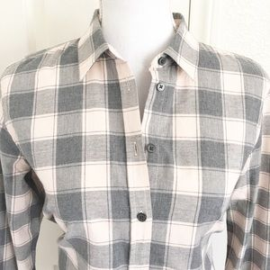 Banana Republic Pink & Gray Plaid Dillon Shirt